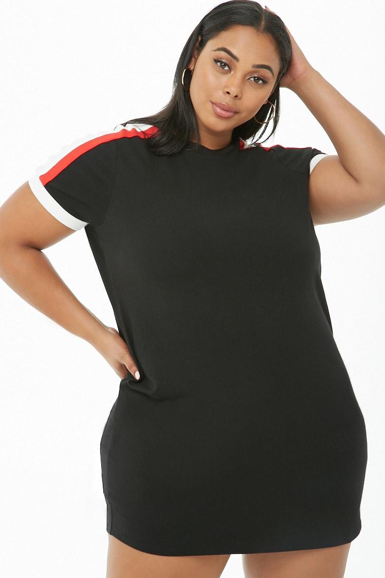 PLUS Plus Size Striped-Trim T-Shirt Dress