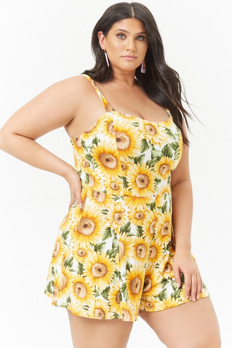 PLUS Plus Size Sunflower Print Romper