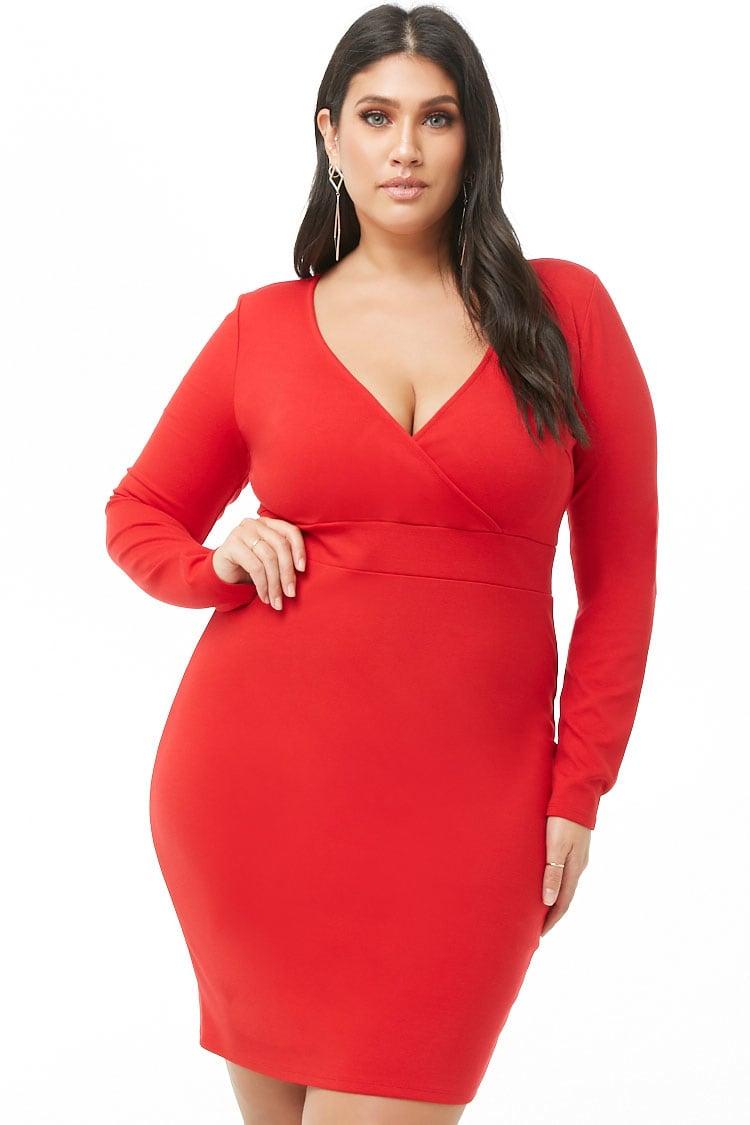 PLUS Plus Size Surplice Bodycon Dress