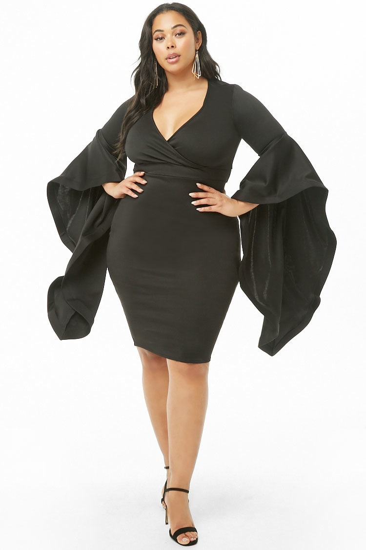 PLUS Plus Size Surplice Trumpet-Sleeve Dress