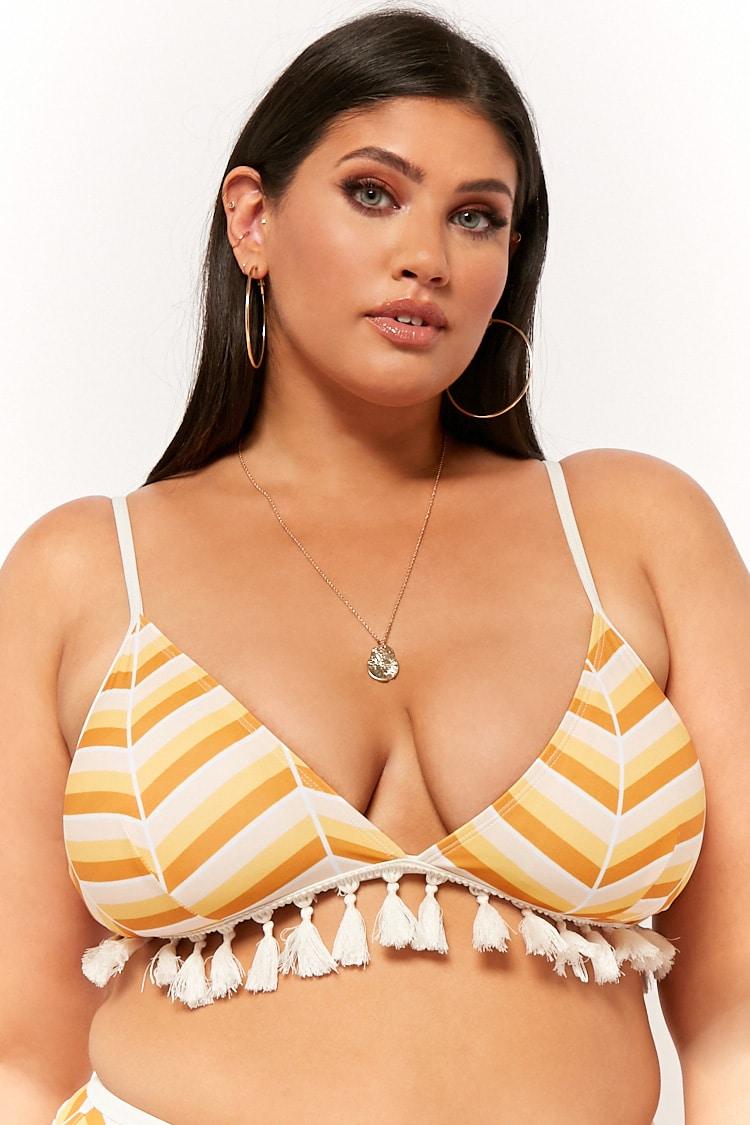 PLUS Plus Size Tasseled Multicolor Chevron Bikini Top