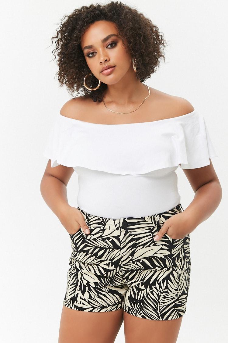 PLUS Plus Size Tropical Denim Shorts