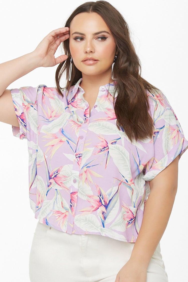 PLUS Plus Size Tropical Floral Pocket Shirt