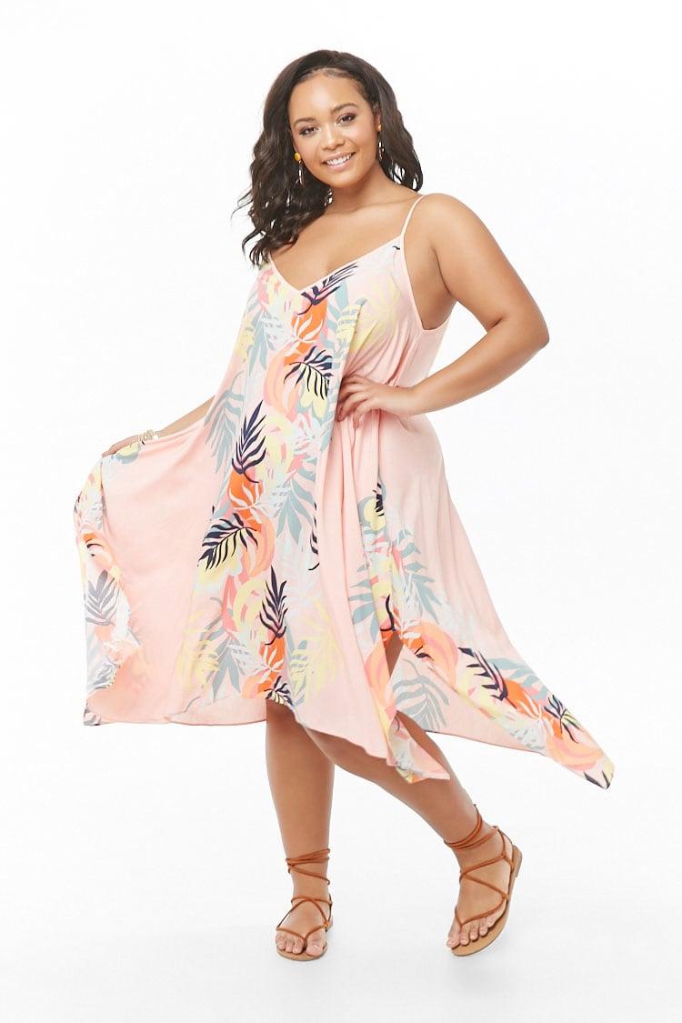 PLUS Plus Size Tropical Leaf Print Maxi Dress