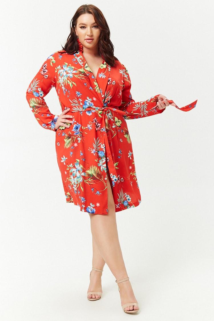 PLUS Plus Size Tropical Longline Kimono