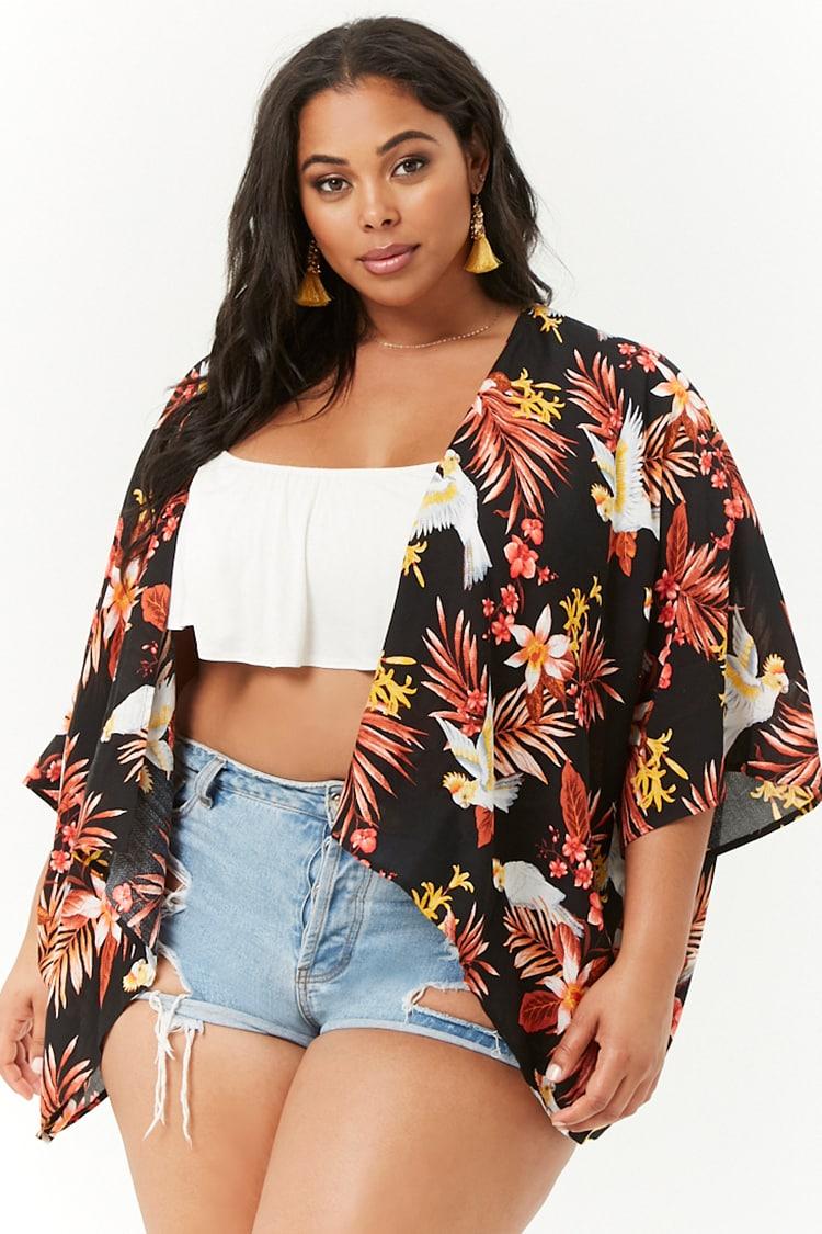 PLUS Plus Size Tropical Print Kimono