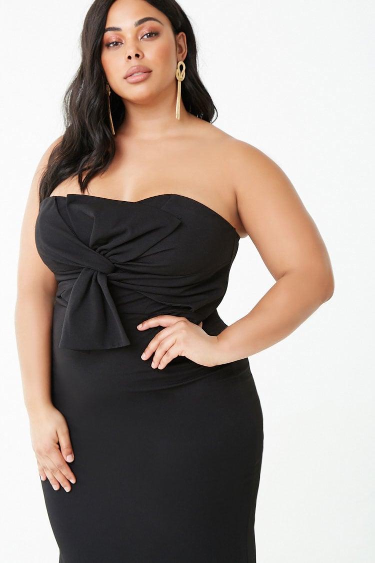 PLUS Plus Size Twist-Front Tube Gown
