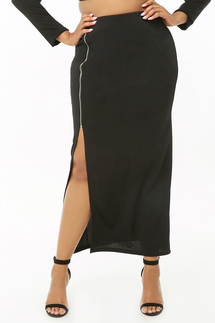 PLUS Plus Size Zip-Front Maxi Skirt
