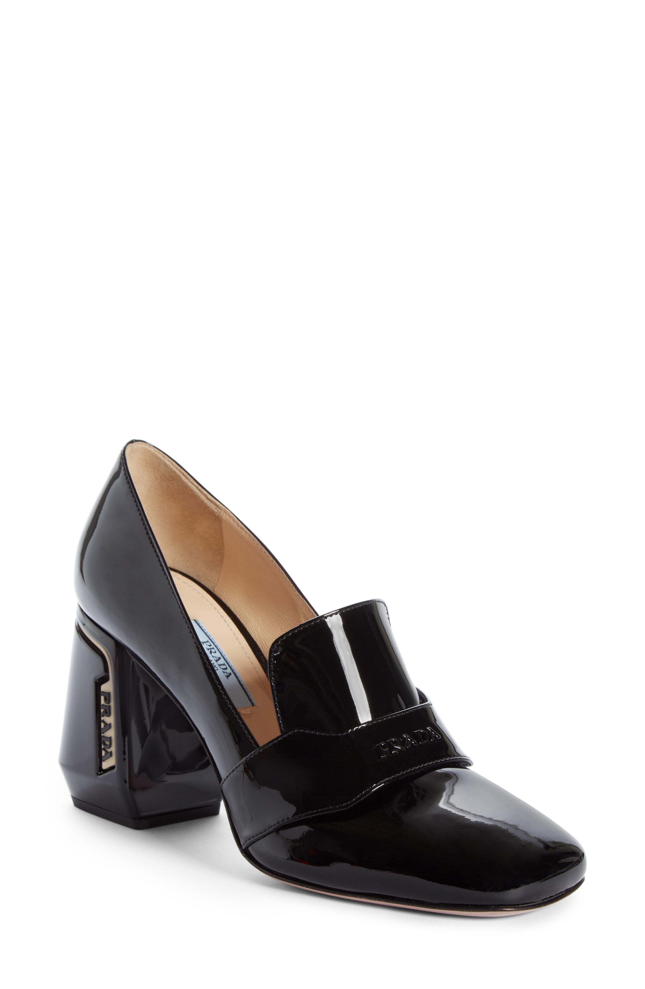 Prada Block Heel Loafer Pump (Women)