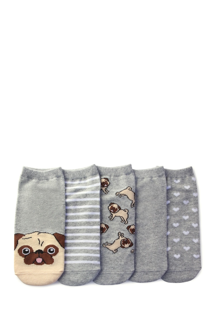 F21 Pug Graphic Ankle Socks - 5 Pack