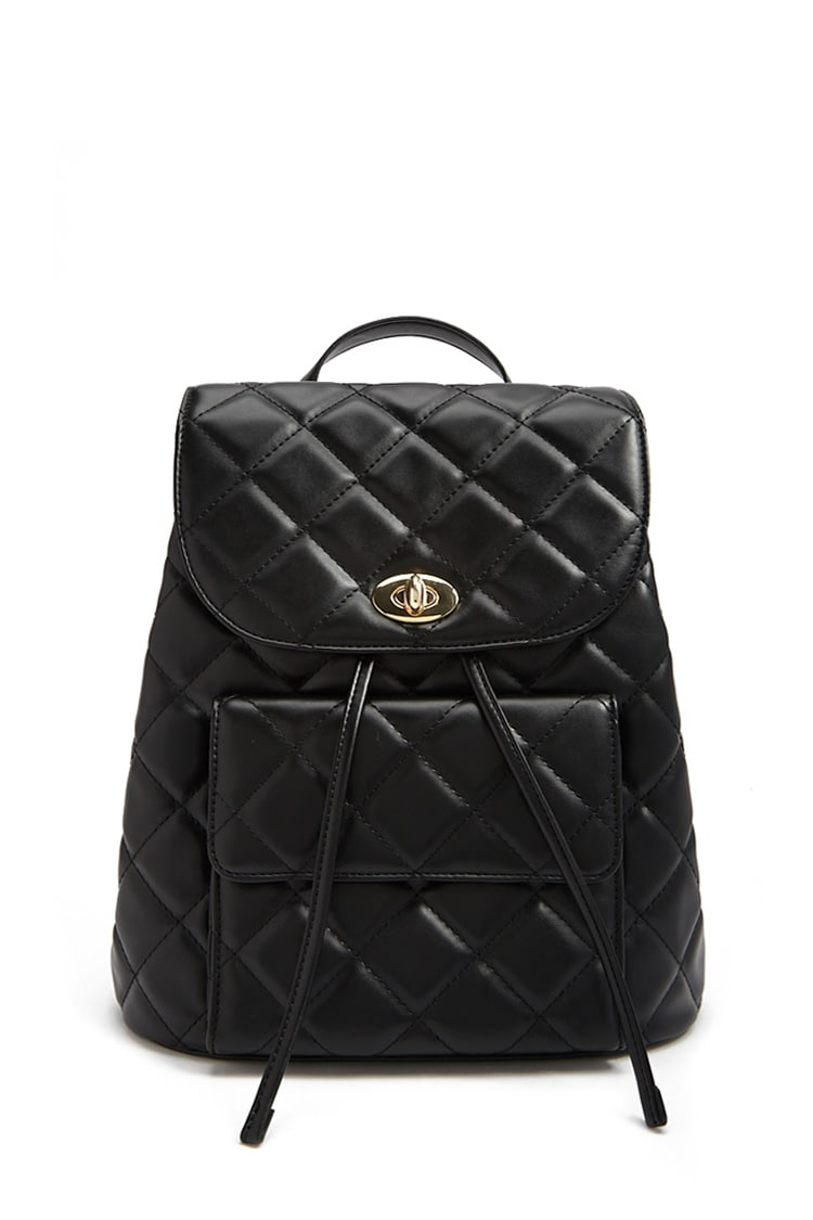 F21 Quilted Flap Top Backpack