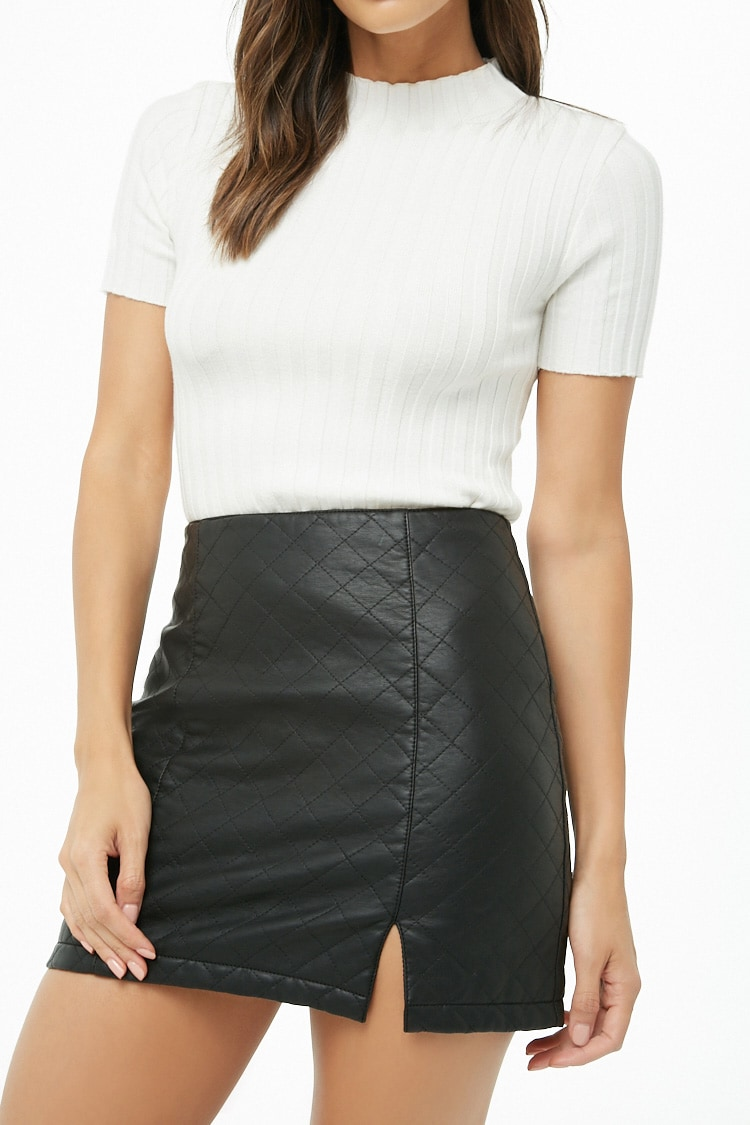 F21 Quilted Mini Skirt