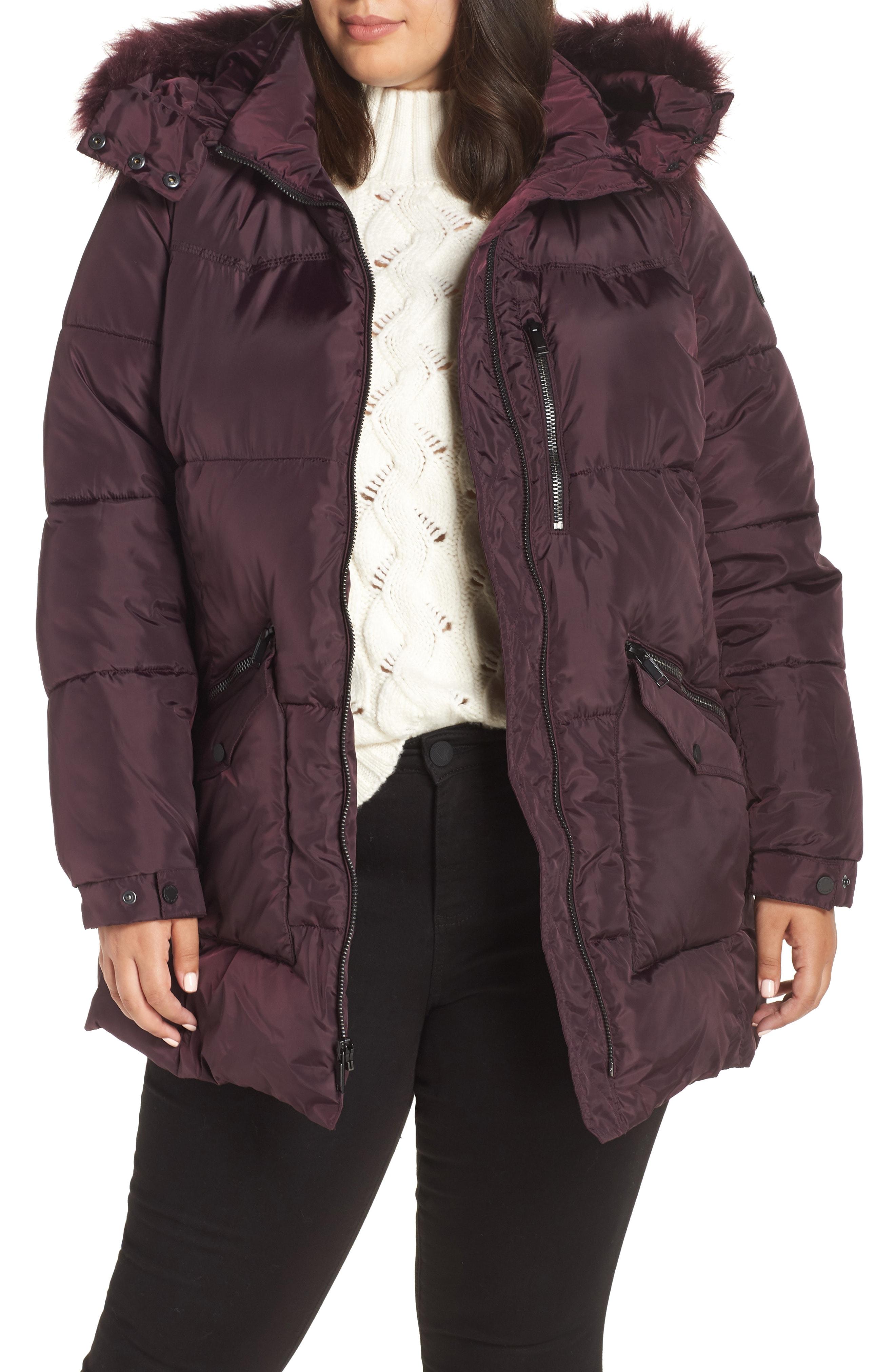 RACHEL Rachel Roy Faux Fur Trim Hooded Puffer Jacket (Plus Size)