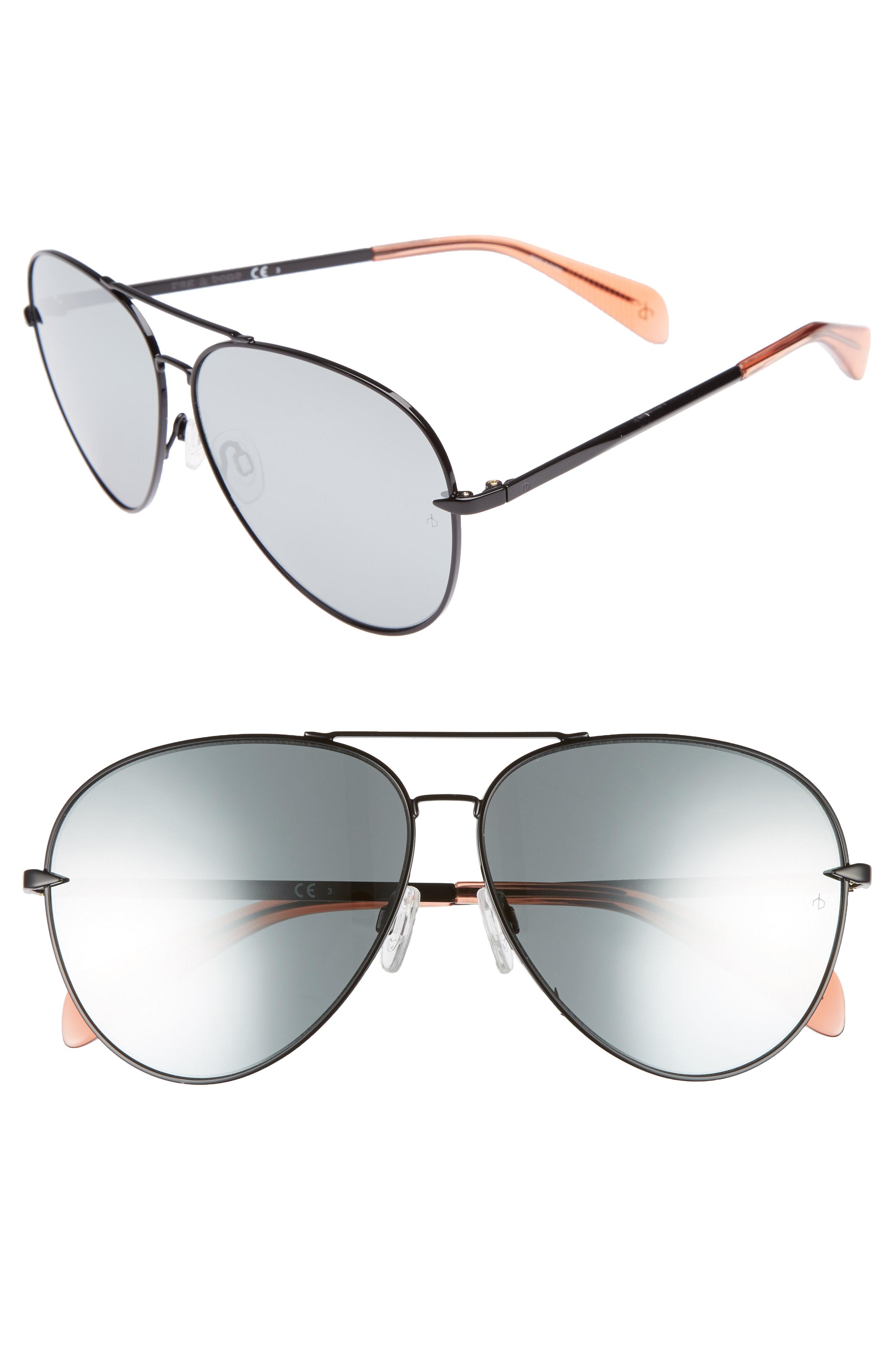 rag & bone 63mm Oversize Aviator Sunglasses