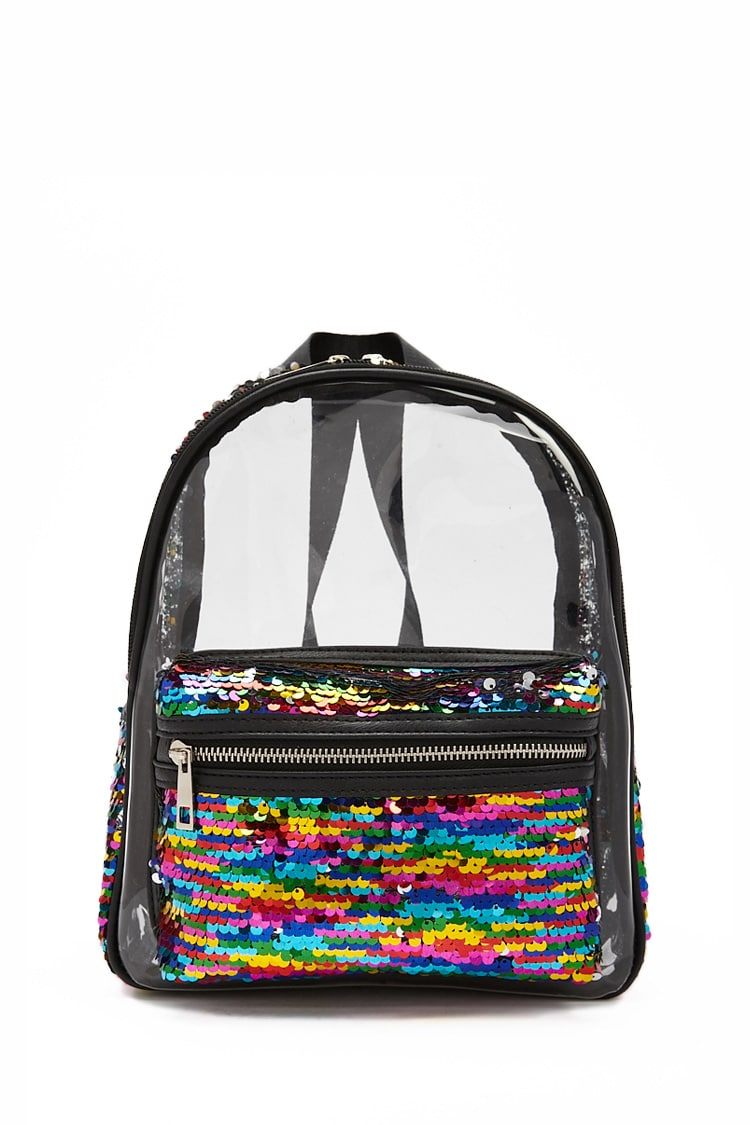 F21 Rainbow Sequin Transparent Backpack