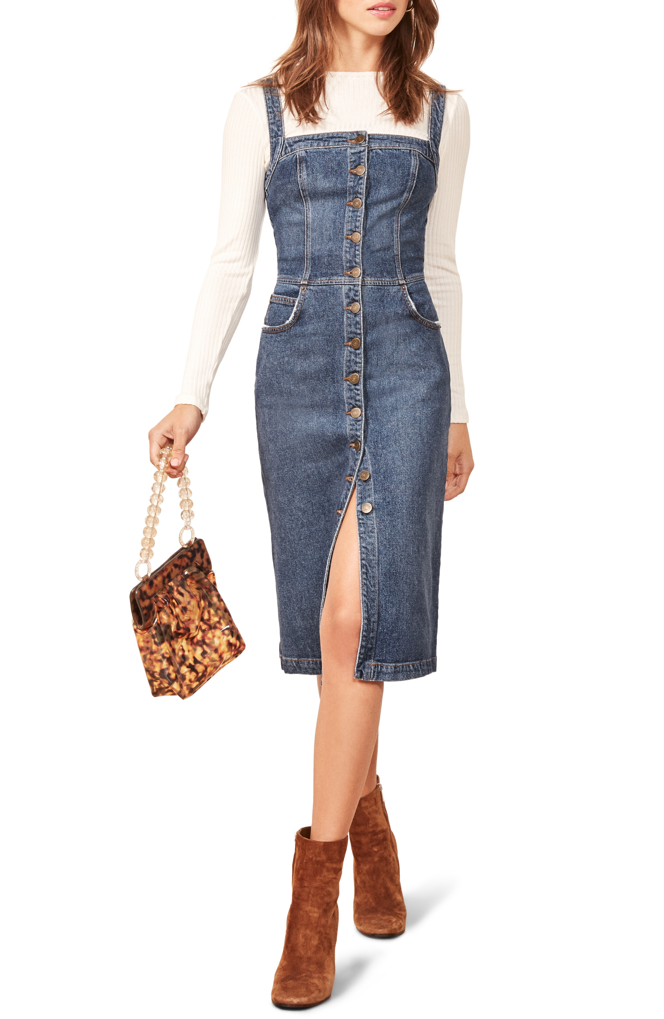 Reformation Camille Denim Overall Dress