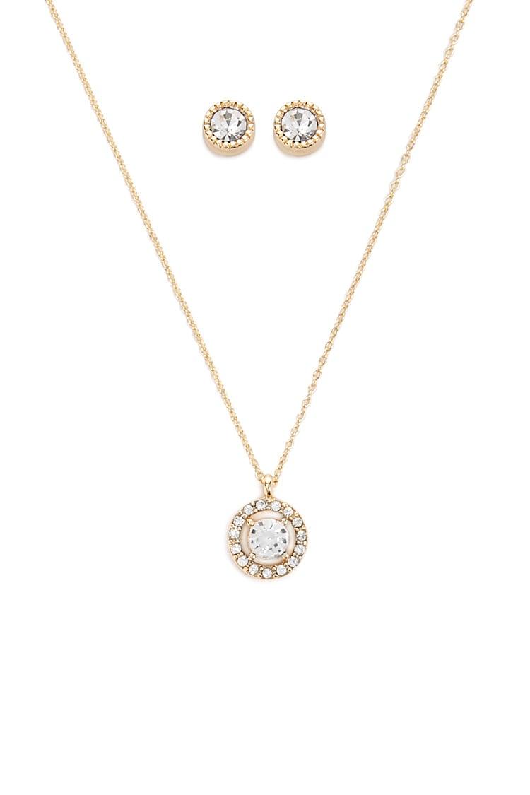 F21 Rhinestone Necklace & Stud Earrings Set