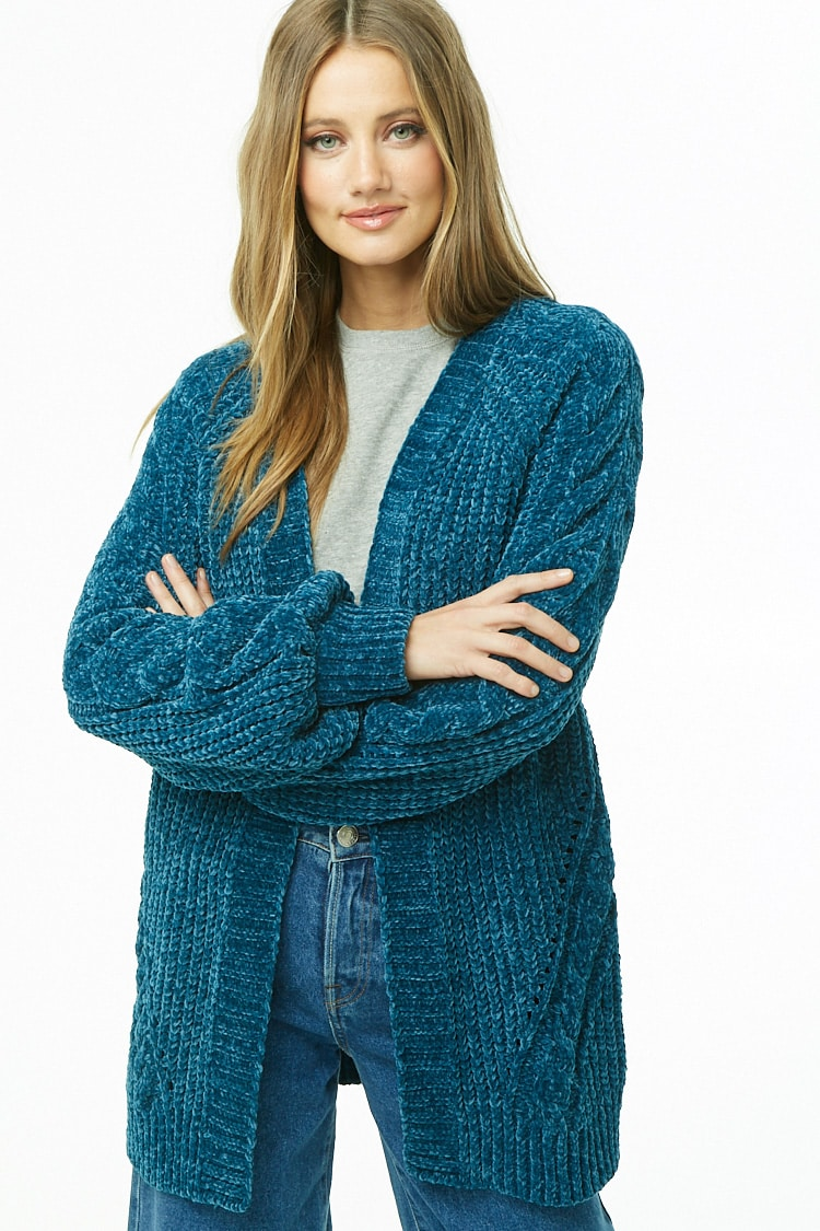 F21 Ribbed Chenille Open-Front Cardigan