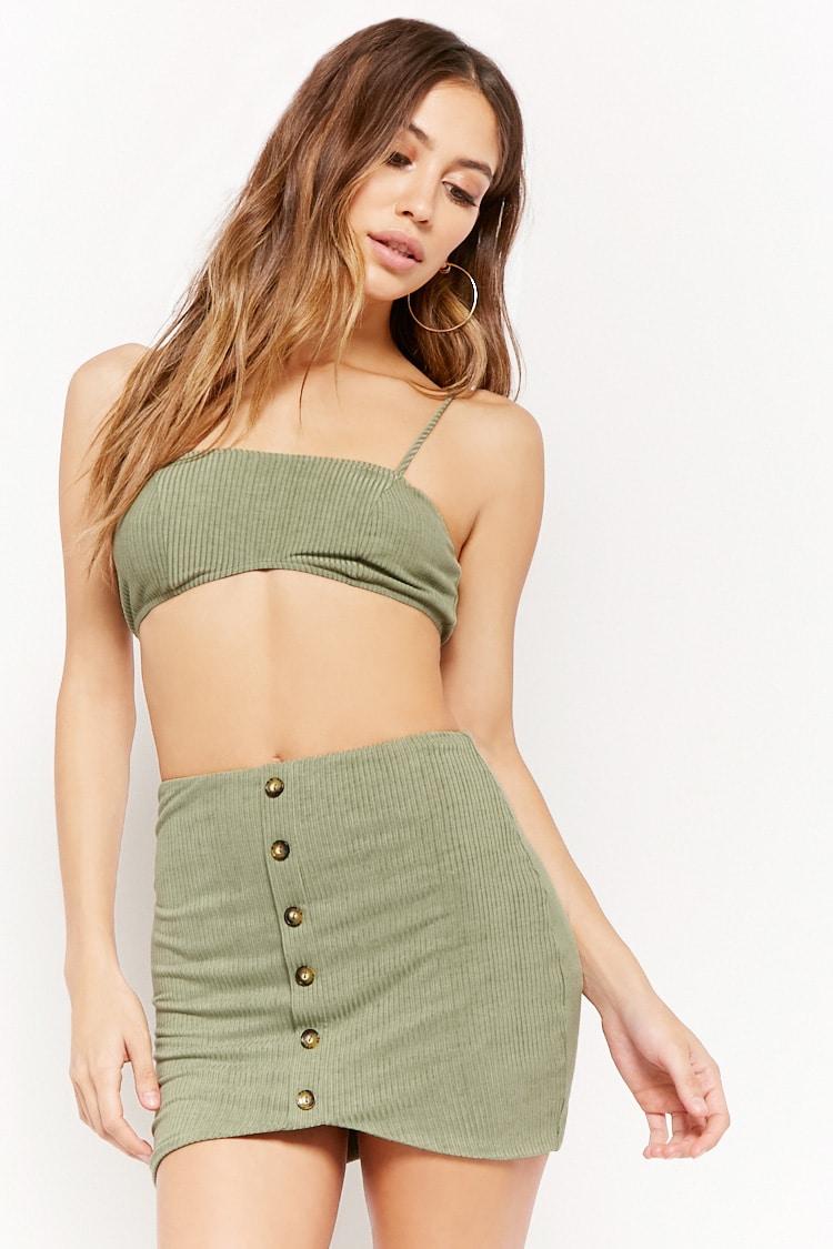 F21 Ribbed Crop Top & Skirt Set