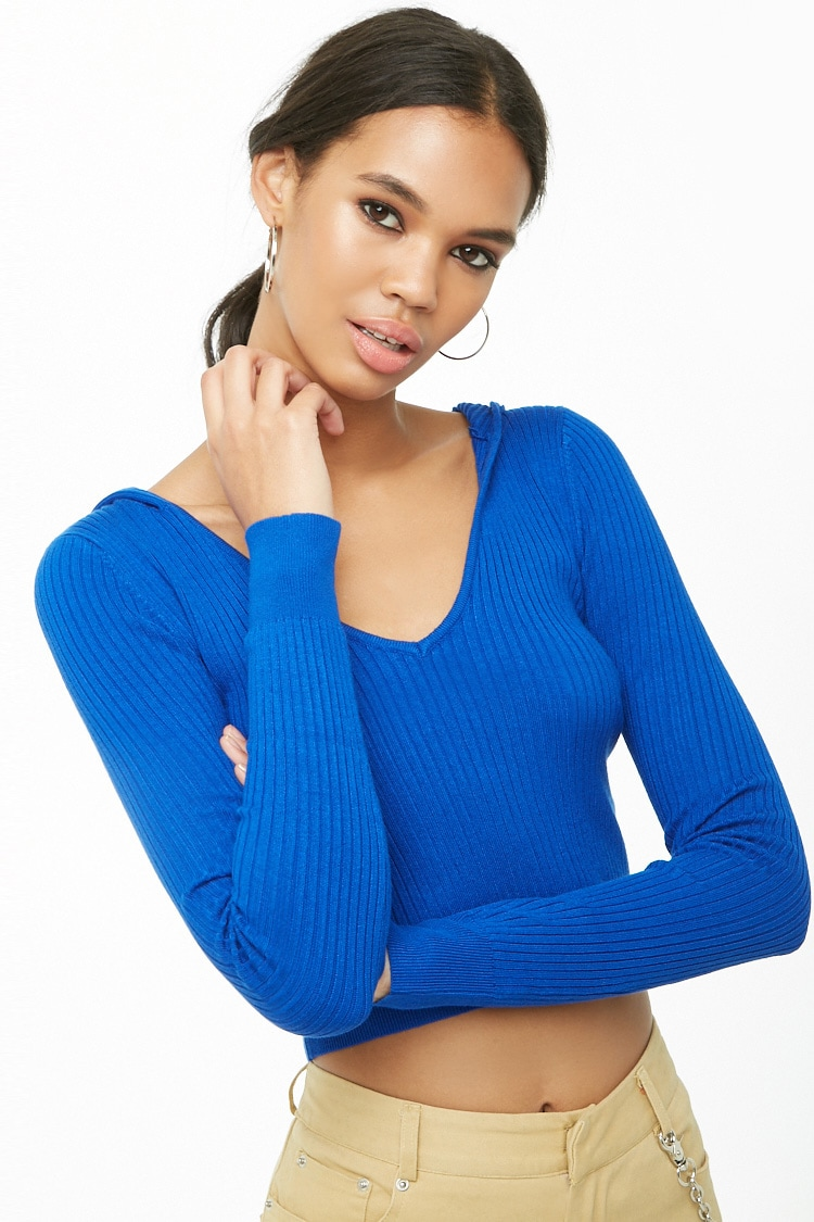 F21 Ribbed Knit Hooded Top