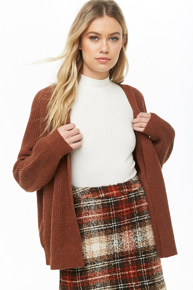 F21 Ribbed Knit Open-Front Cardigan