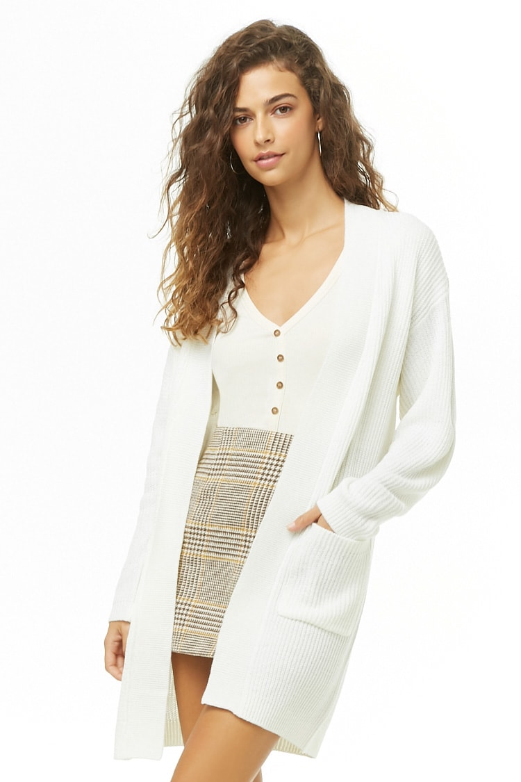 F21 Ribbed Open-Front Cardigan