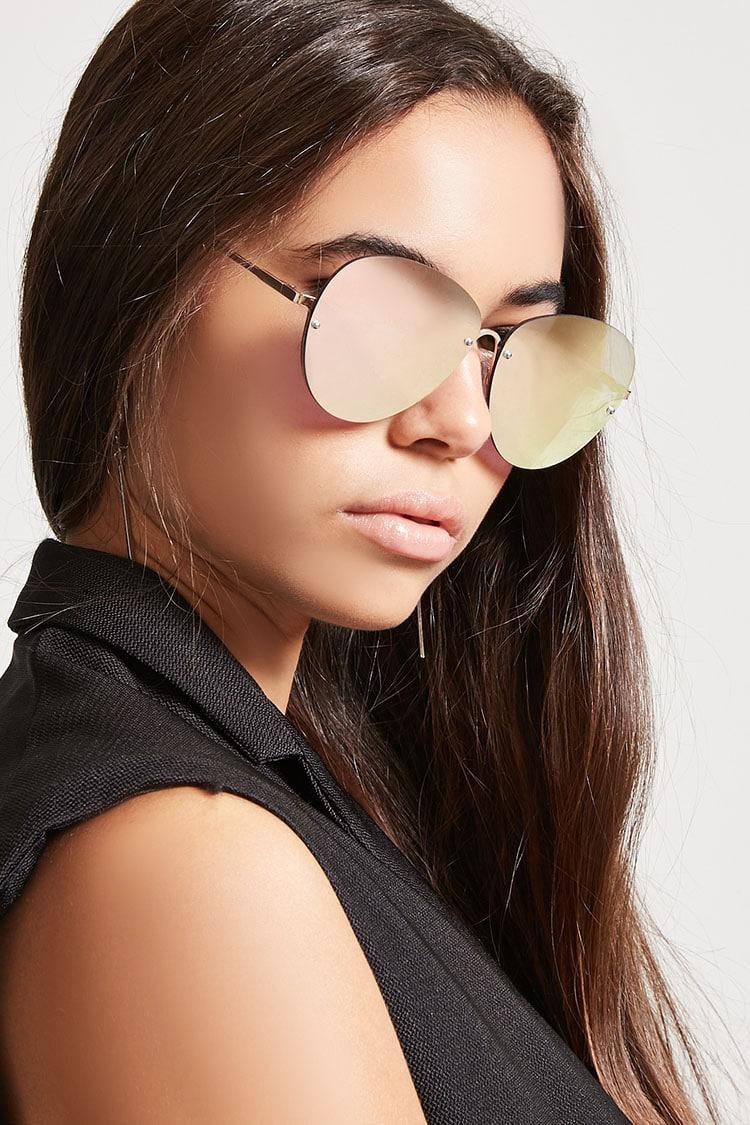 F21 Rimless Mirrored Aviator Sunglasses