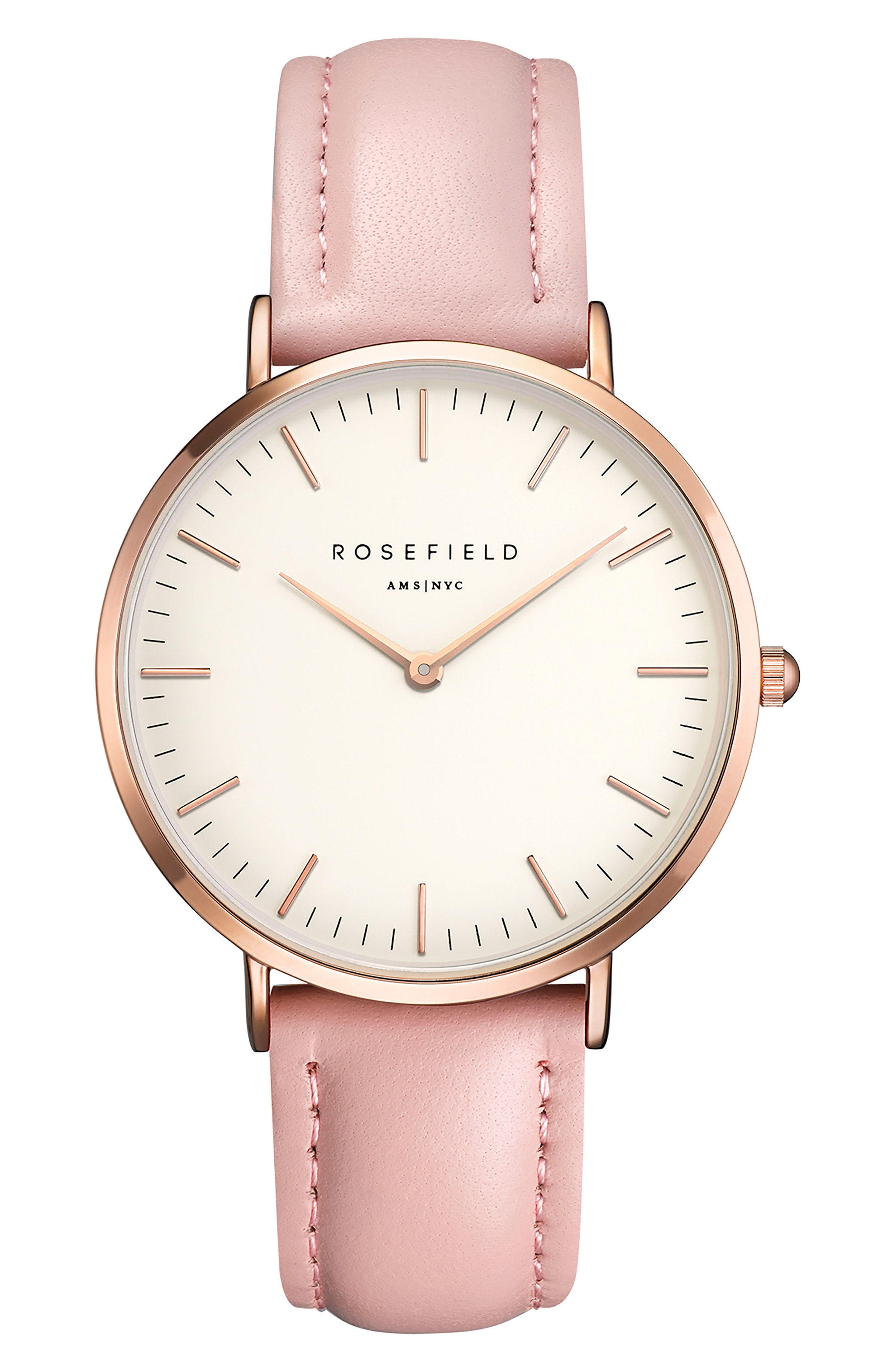 Rosefield Bowery Leather Strap Watch, 38mm