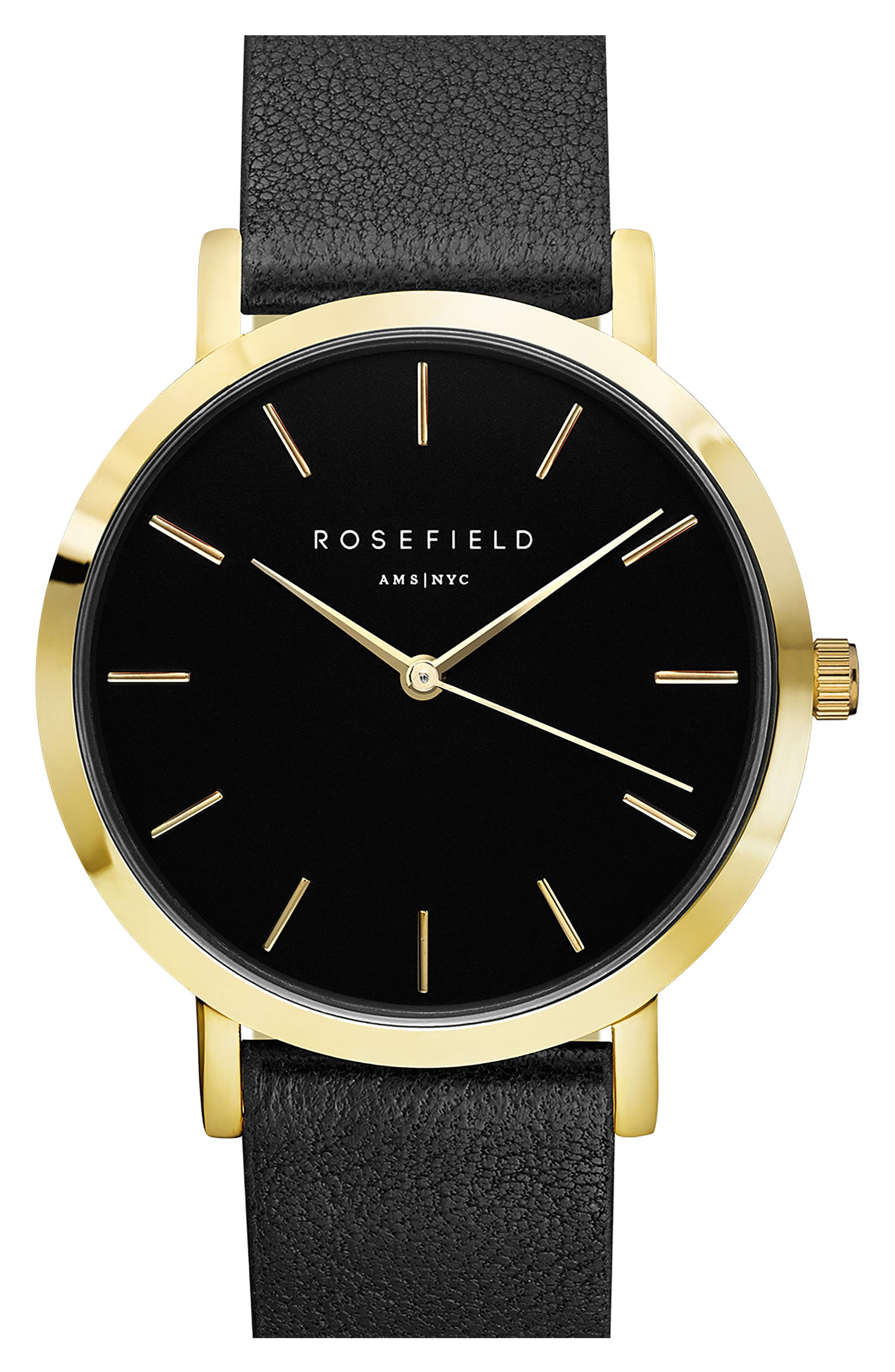 Rosefield Gramercy Leather Strap Watch, 38mm