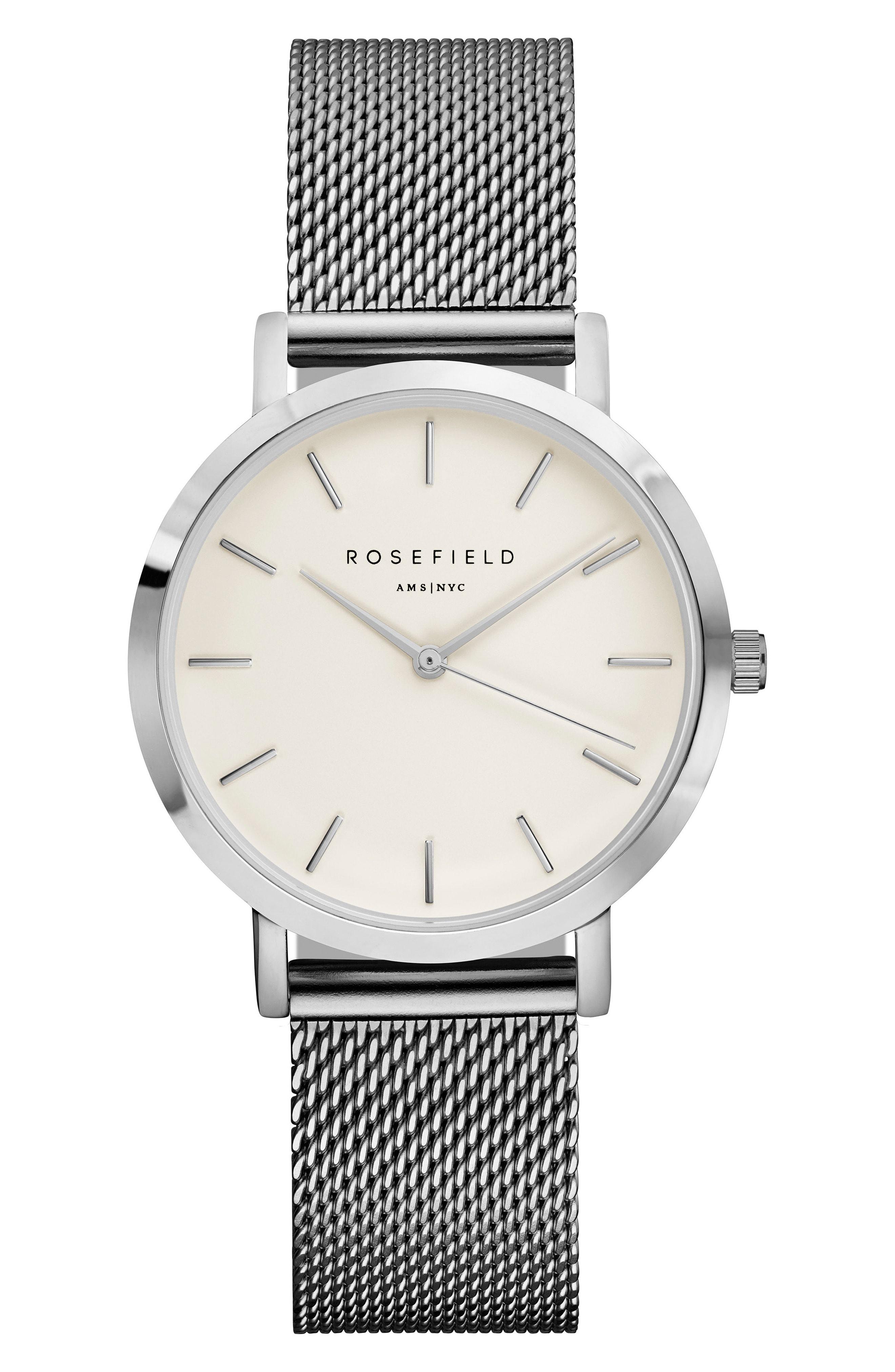 Rosefield Tribeca Mesh Strap Watch, 33mm