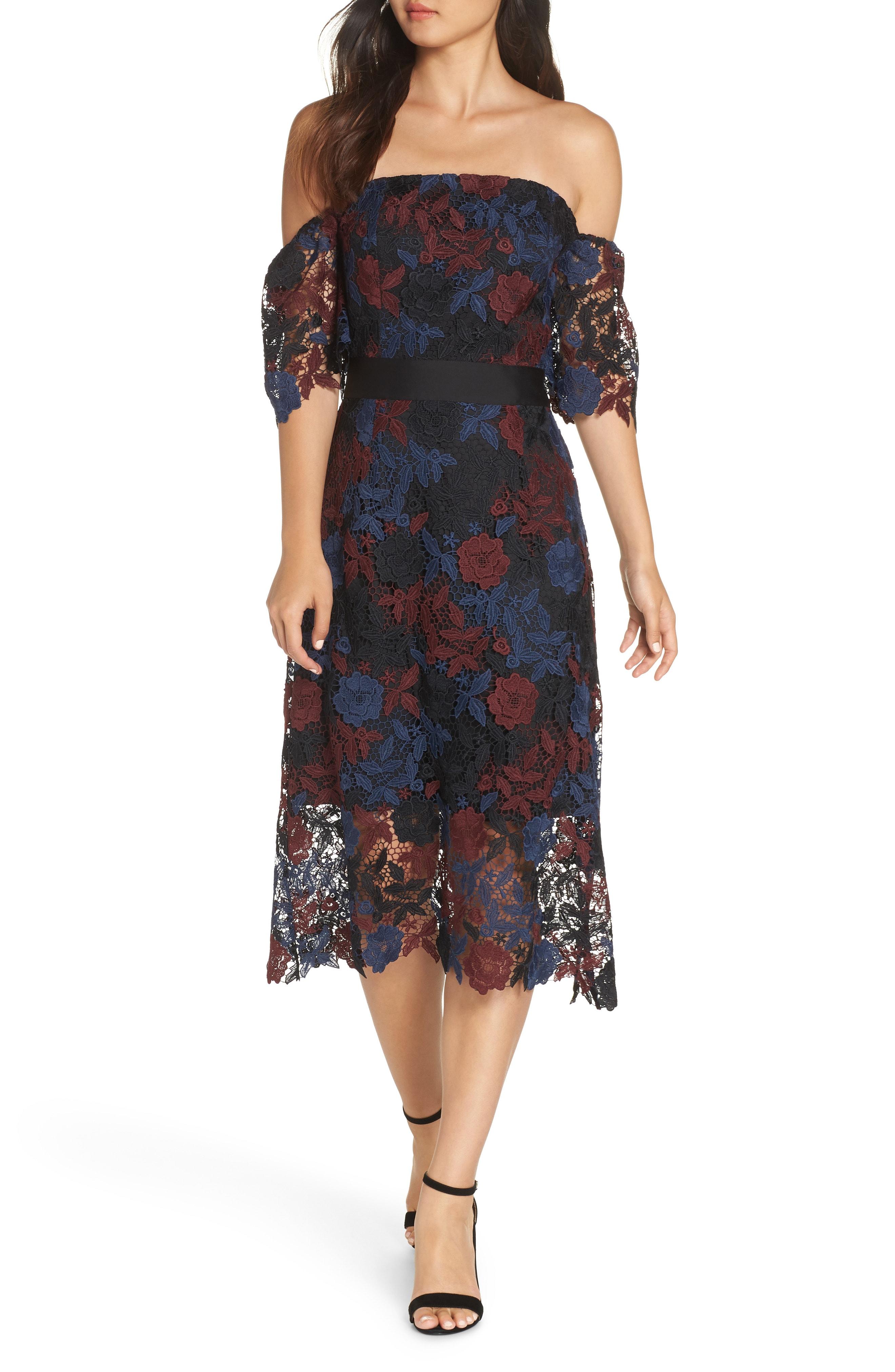 Sam Edelman Three-Tone Off the Shoulder Lace Midi Dress