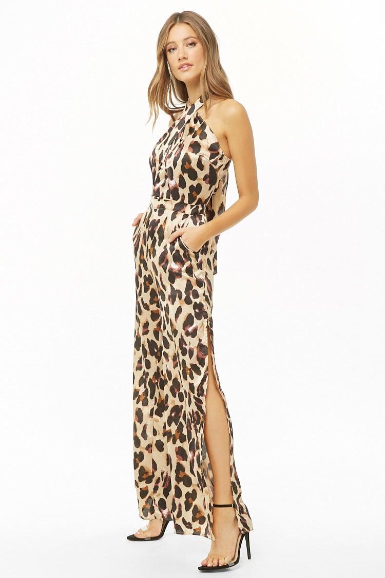 F21 Satin Leopard Print Halter Jumpsuit