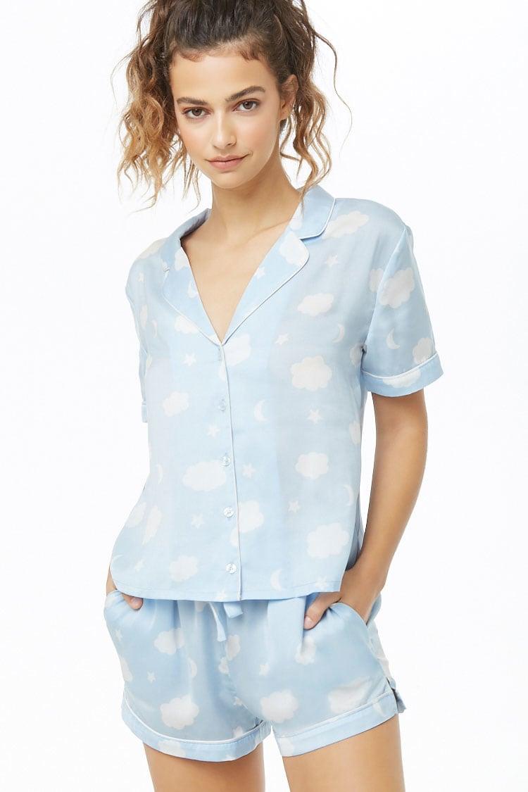 F21 Satin Sky Print Shirt & Shorts PJ Set