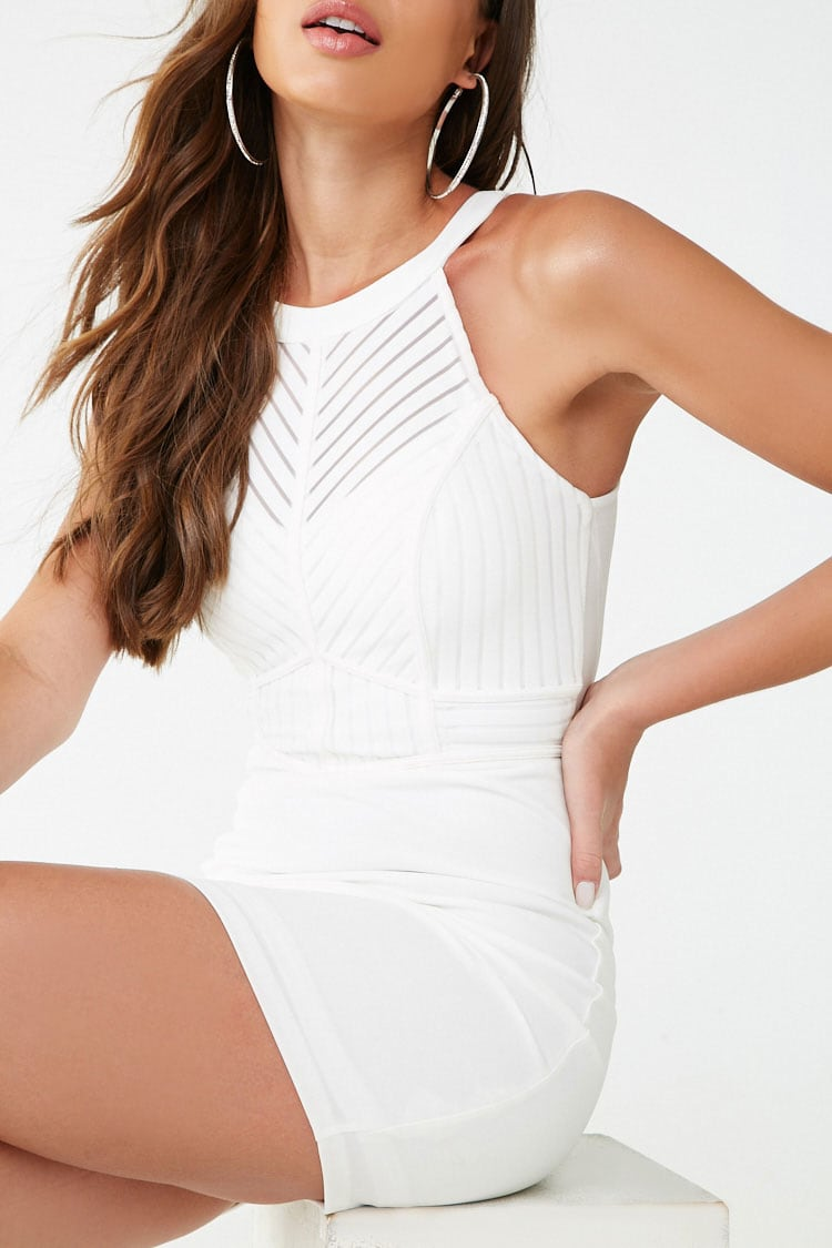 F21 Shadow-Striped Bustier Mini Dress