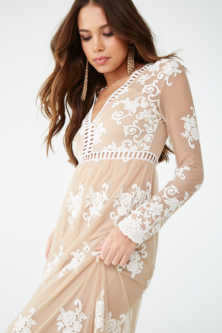 F21 Sheer Mesh Embroidered Maxi Dress
