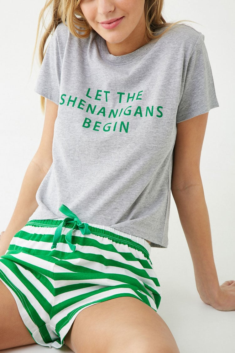 F21 Shenanigans Graphic Pajama Set