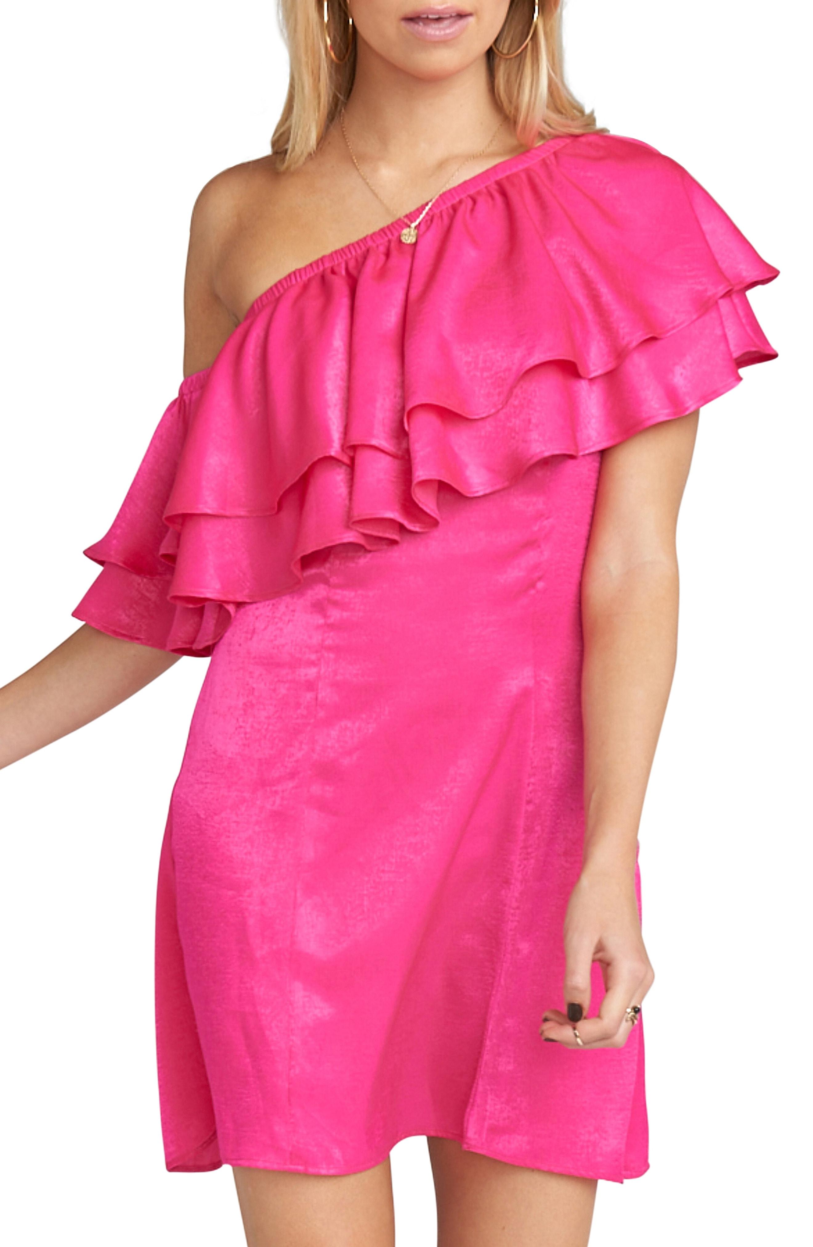 Show Me Your Mumu Ruffle One-Shoulder Satin Minidress