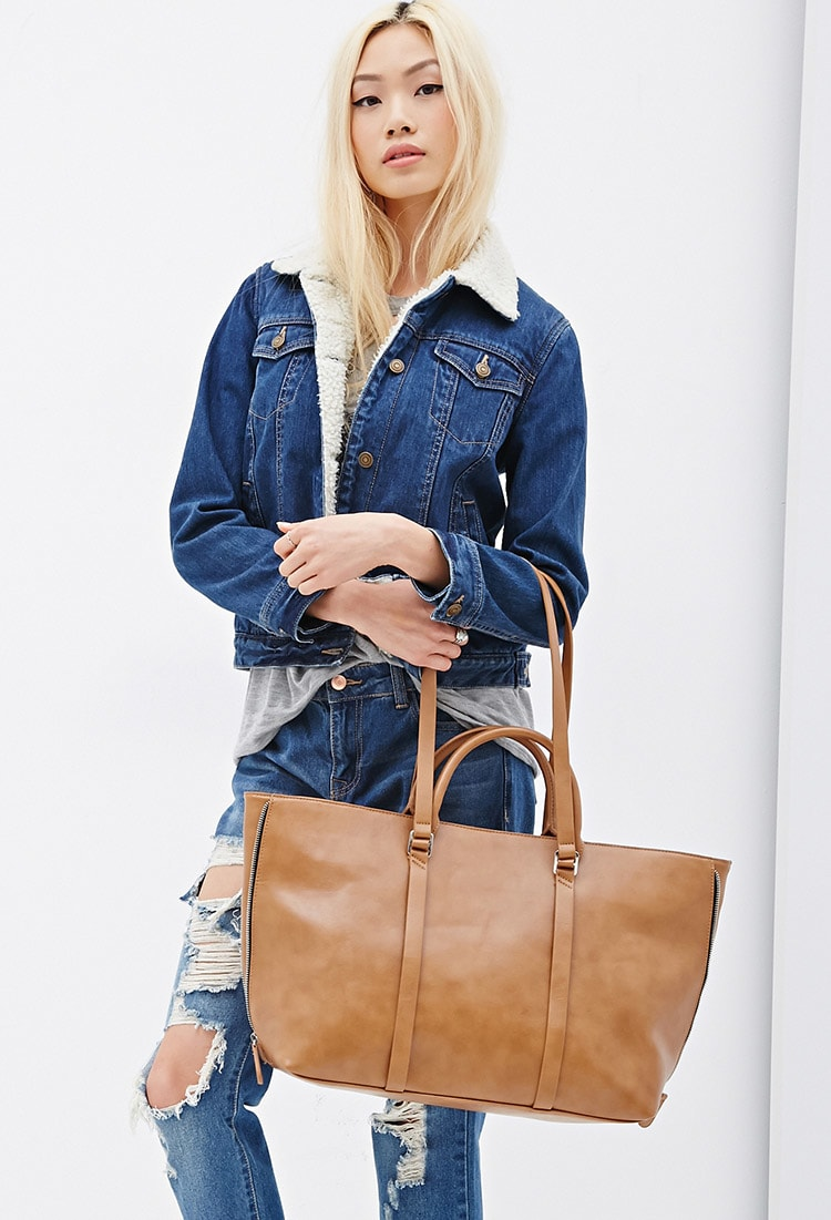 F21 Side-Zip Faux Leather Tote