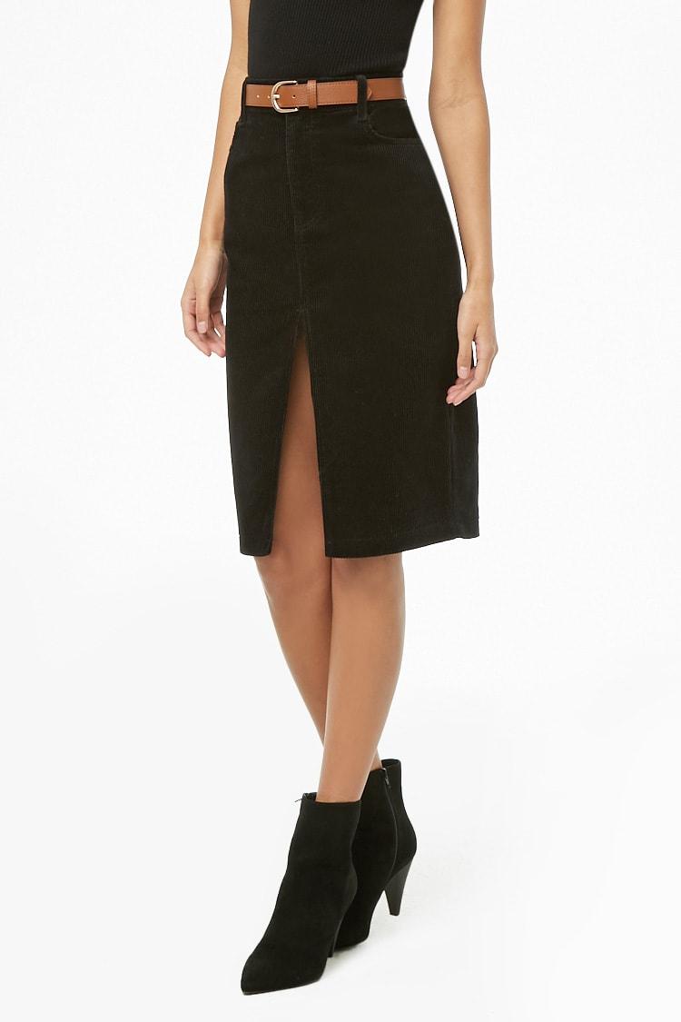 F21 Slit Corduroy Pencil Skirt