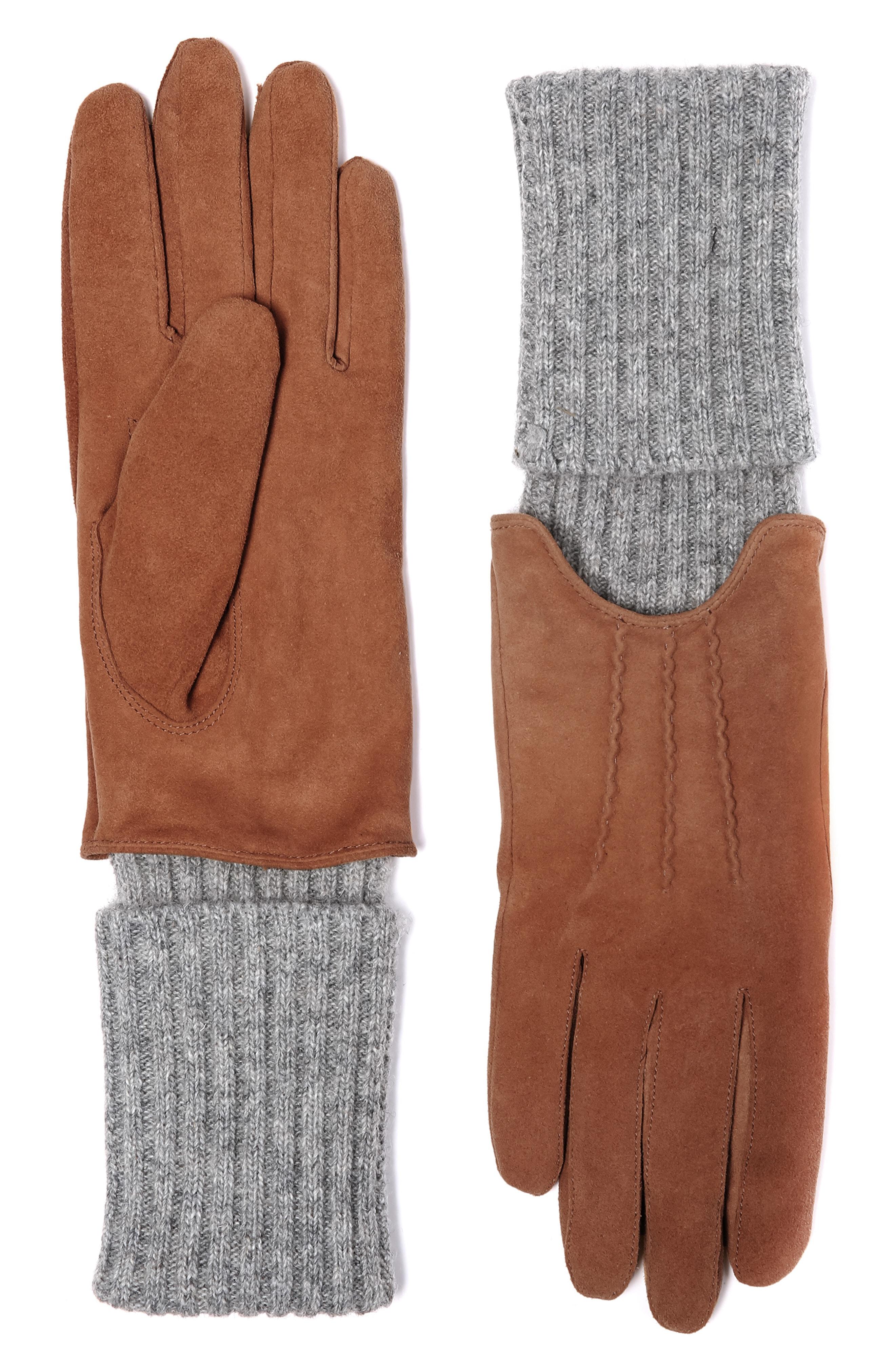 Soia & Kyo Rib Trim Tech Suede Gloves
