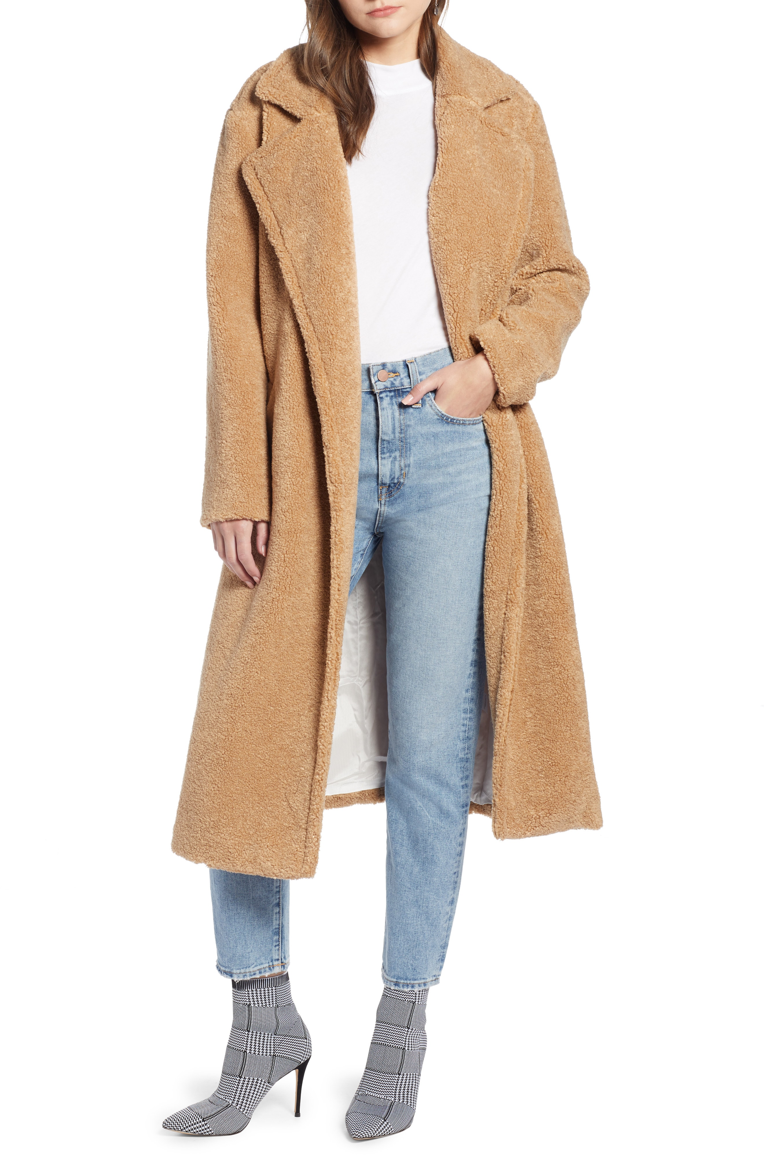 Something Navy Teddy Faux Fur Coat (Nordstrom Exclusive)