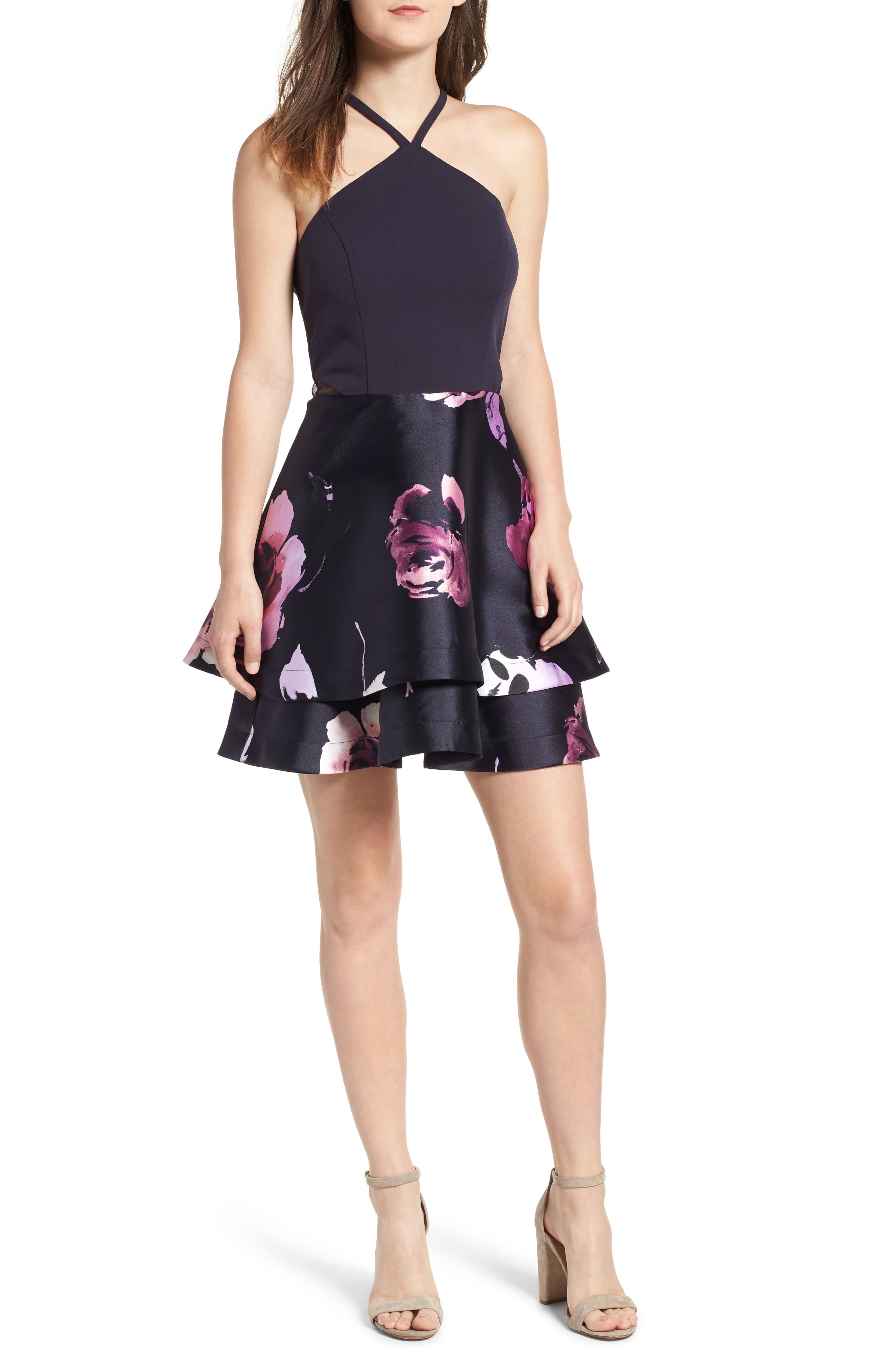 Speechless Floral Fit & Flare Dress