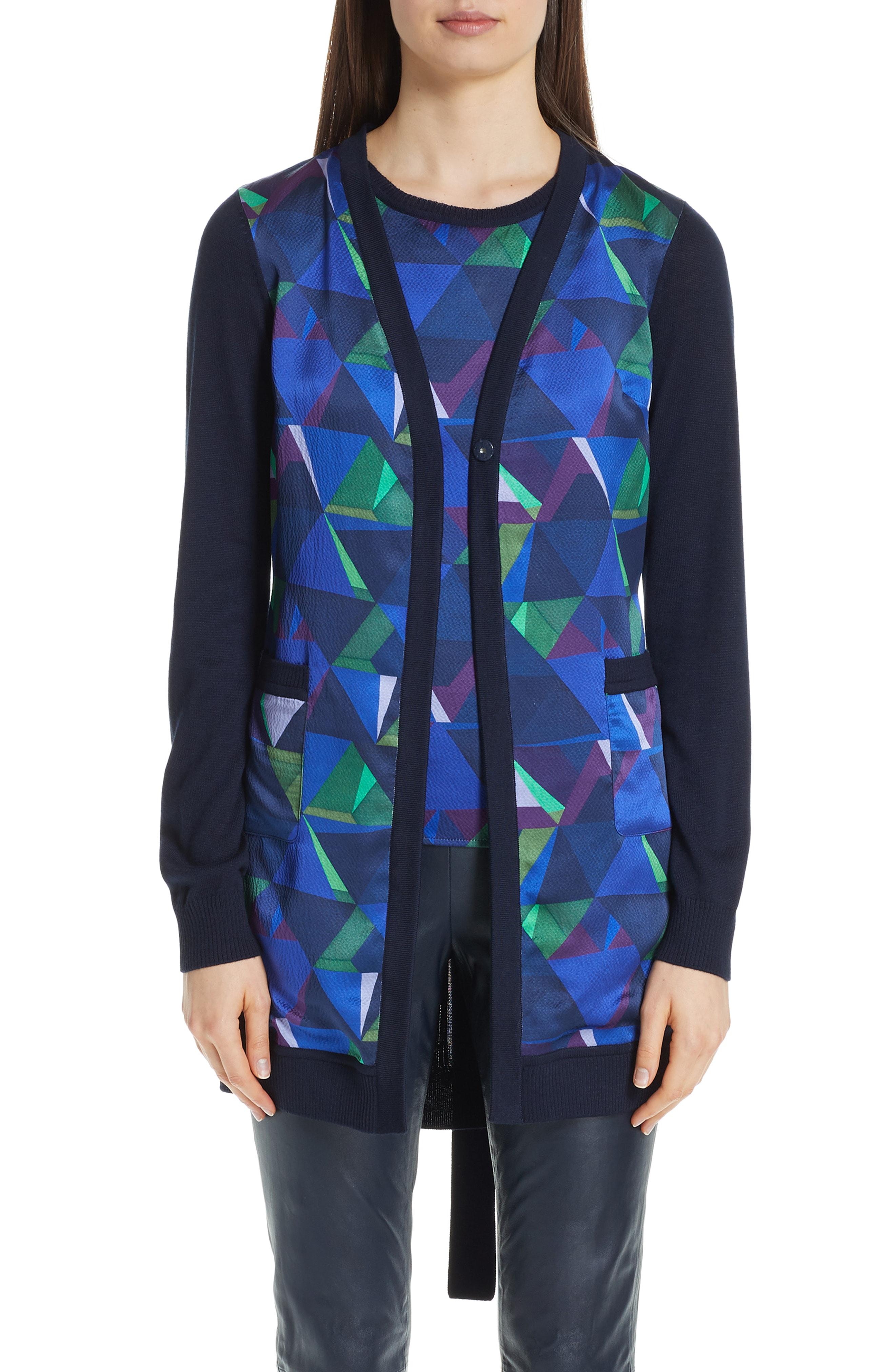 St. John Collection Jersey & Silk Cardigan