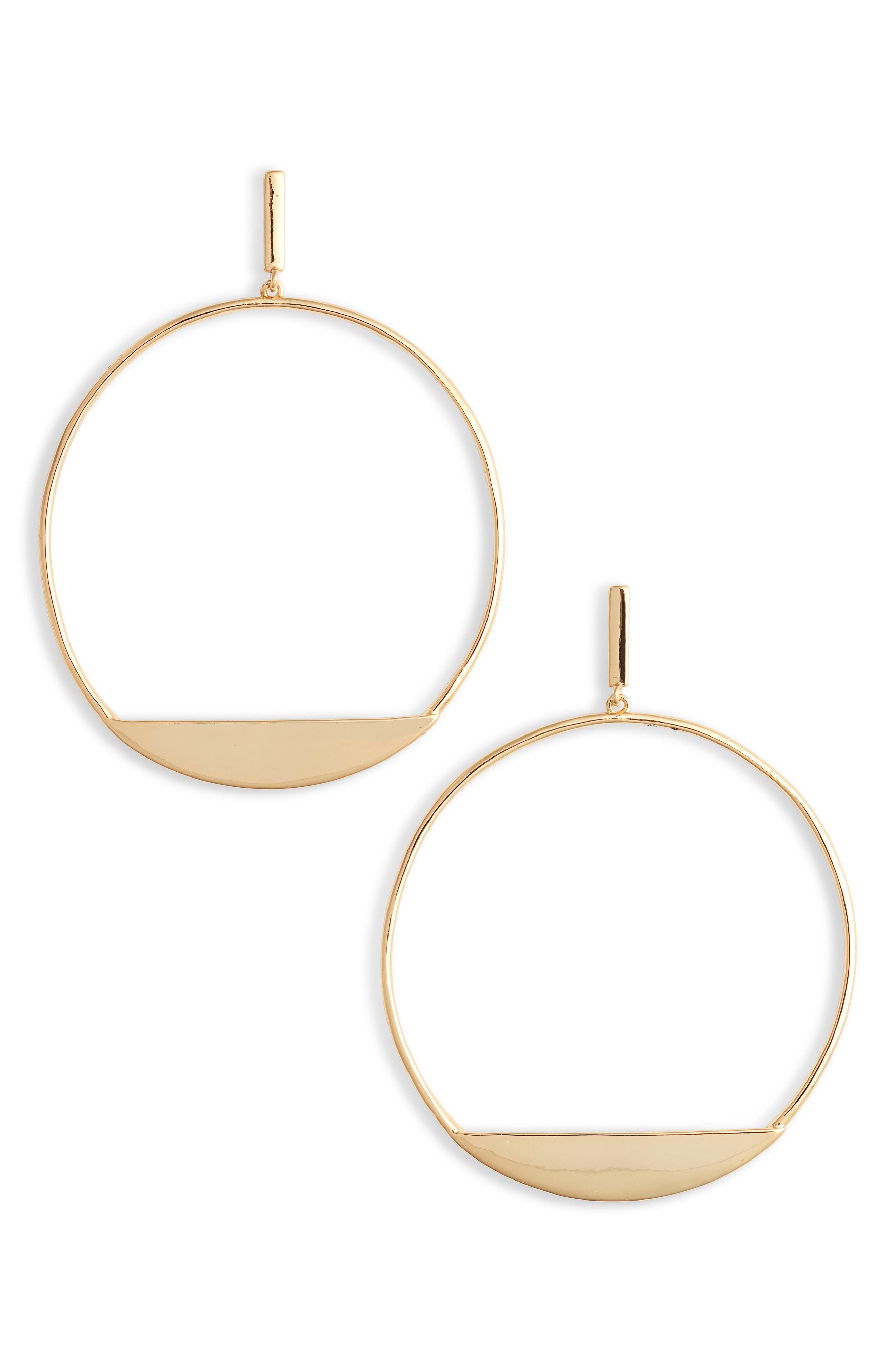 Sterling Forever Circle Frontal Hoop Earrings