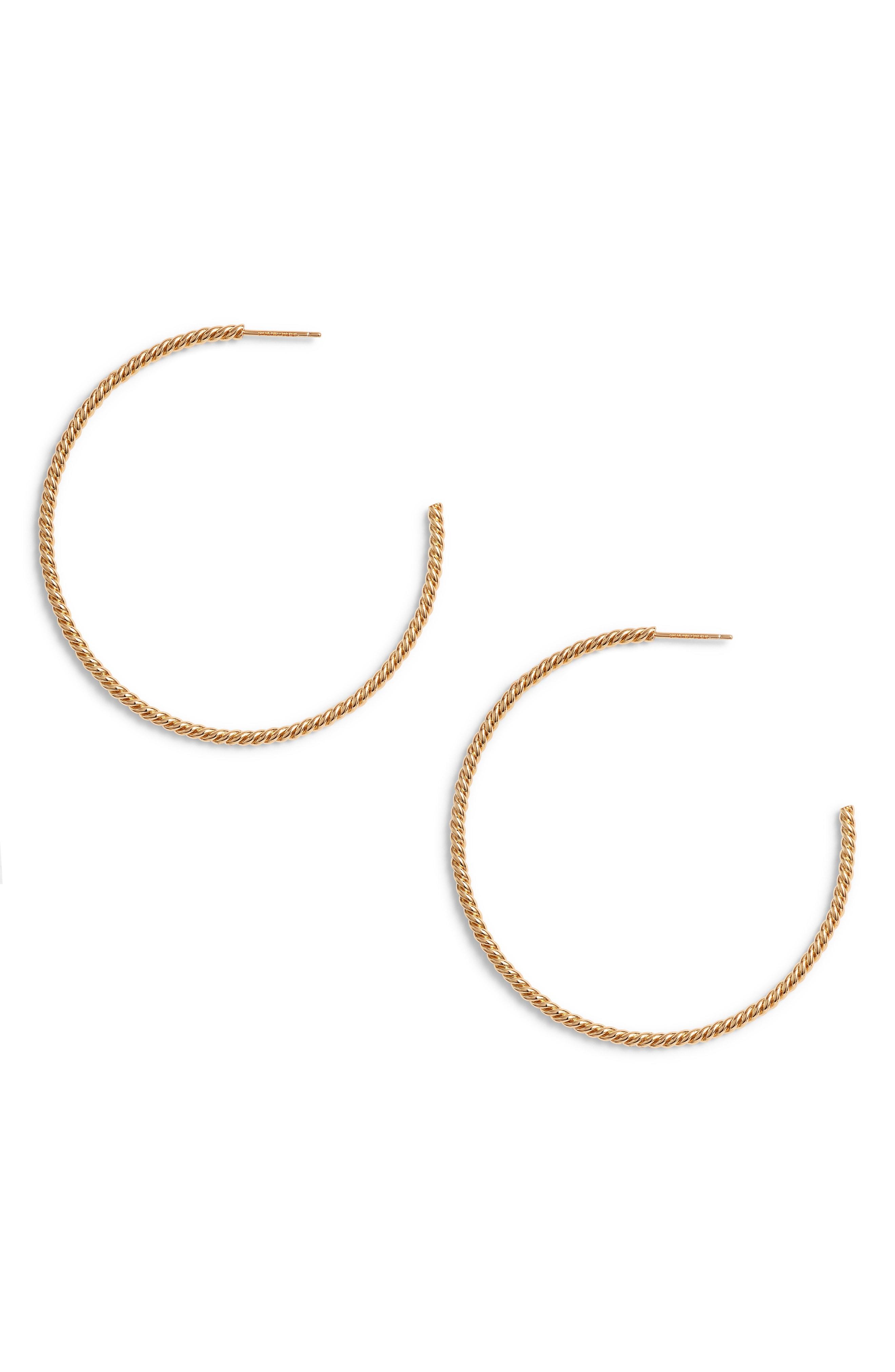 Sterling Forever Gold Rope Twist Hoop Earrings