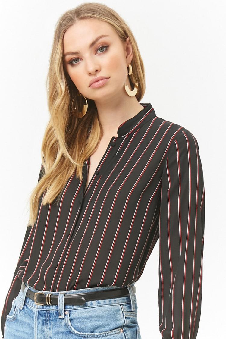 LOVE21 Striped Chiffon Shirt