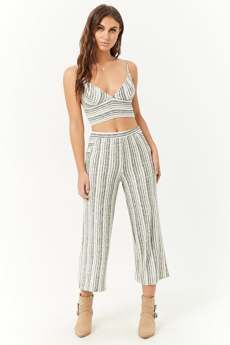F21 Striped Cropped Cami & Pants Set