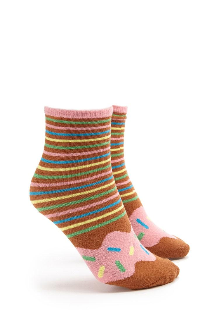 F21 Striped Donut Socks