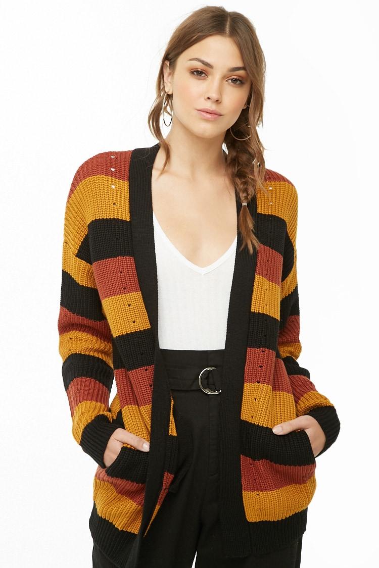 F21 Striped Knit Cardigan