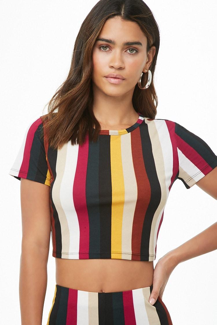 F21 Striped Knit Crop Top